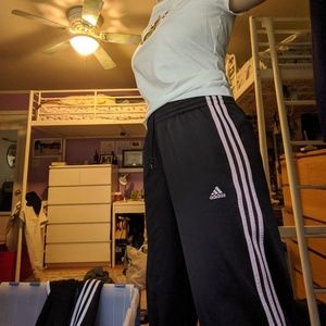 Wide Leg High-Waisted Adidas pants